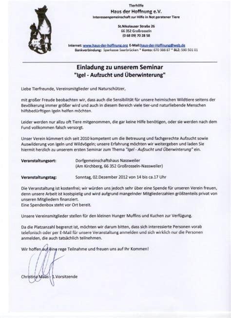 Musterbrief Einladung Zum Seminar Tierhilfe Haus Der Hoffnung E V
