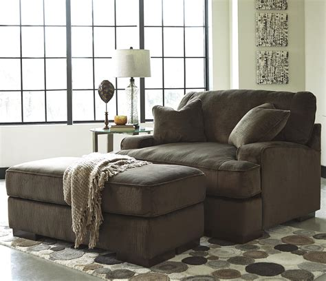 Benchcraft Bisenti Contemporary Chair And A Half Ottoman Chair And Half With Ottoman