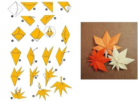 Origami Leaves - origami folding maple leaf thanksgiving autumn