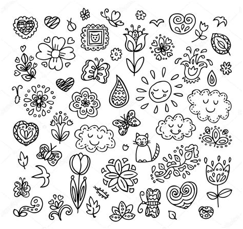 how to draw simple doodle doodles set draw flowers sun clouds