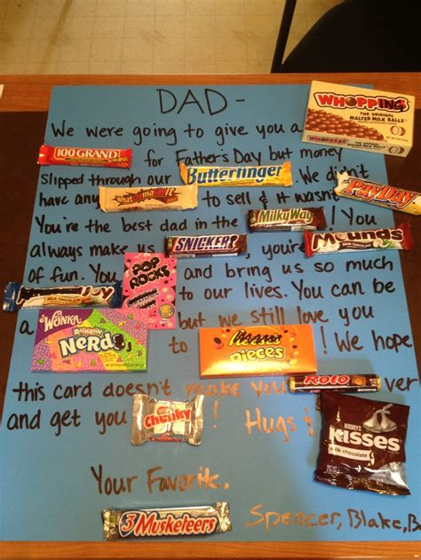 Birthday Card Made Out Bars Fathers Day Candy Bar Card Completed Pins Pinterest