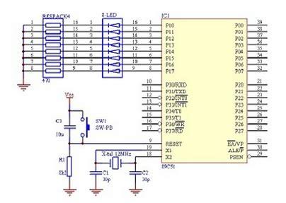 gambar rangkaian membuat lu led membuat program led berjalan dengan bahasa assembly pada