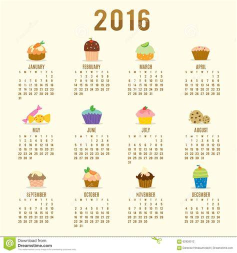 Calendario Z Cup 2016 Calendar 2016 Cupcake Vector Stock Vector