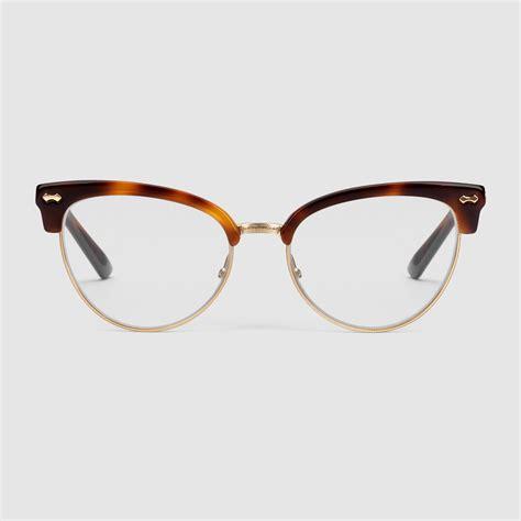 Cat Eye Sunglasses Glasses gucci cat eye glasses in brown lyst
