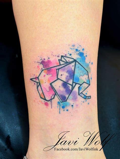 origami elephant tattoo elefante origami en acuarelas by javi wolf tatoo