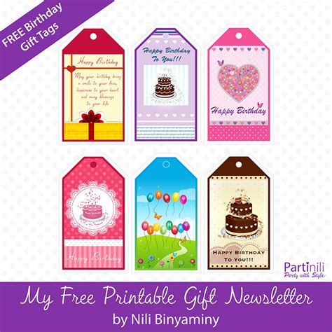Printable Birthday Gift Tags Cards - printable gift tags