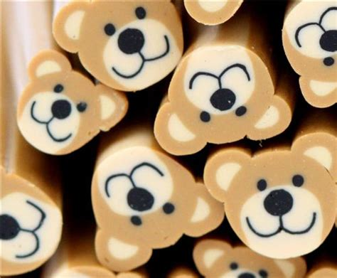 super cute brown bear pattern fake nails japanese pure cute miniature kawaii bear cane clay sticks diy 5 pcs