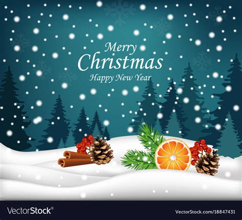 merry christmas card winter snowy background  vector image