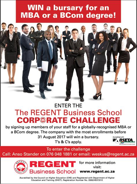 Mba Bursaries by Win An Mba Or Bcom Bursary Regent Business School