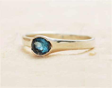 sale blue topaz ring bezel set ring