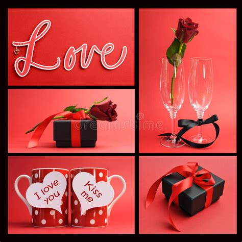 love themes message valentines day or love theme collage stock photo image