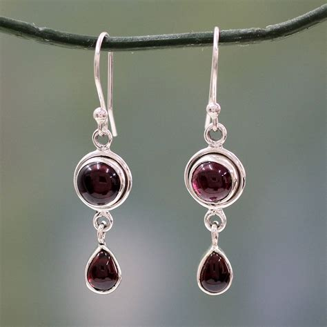 Handmade Sterling Silver Earrings Uk - unicef uk market garnet and sterling silver earrings