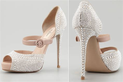 silver studded wedding shoes by valentino onewed