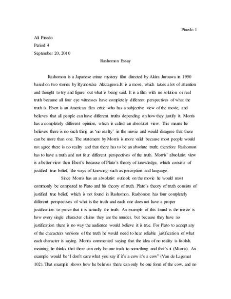 Rashomon Essay by Perception Rashomon Essay