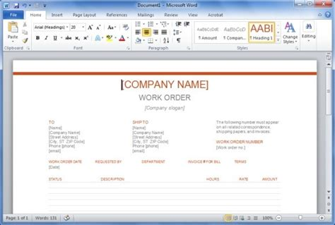 work order template microsoft word oyle kalakaari co