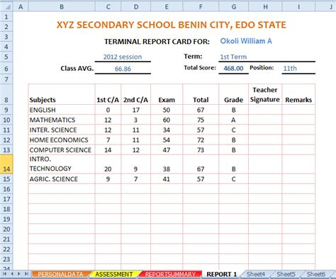 school result card template automated excel sheets free for 20 science