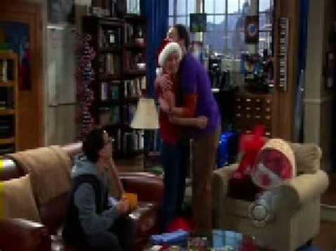 big bang theory sheldon hugs penny merry christmas     fans youtube