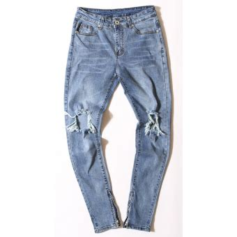 black icon ripped zipper jeans denim