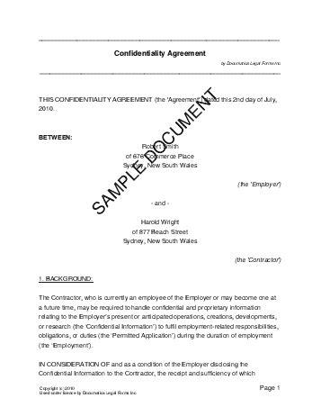 non disclosure agreement template australia confidentiality agreement australia templates