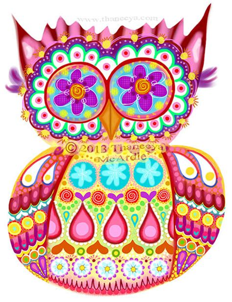 colorful owls colorful owl by thaneeya mcardle thaneeya