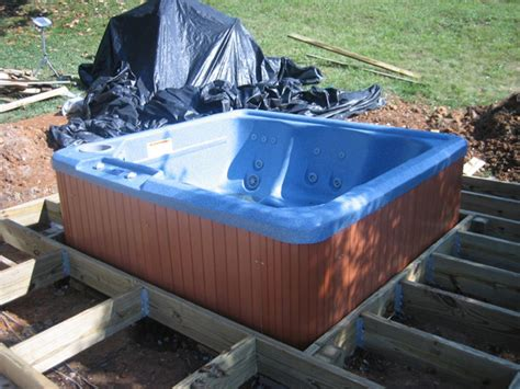how to install a jacuzzi bathtub how to install a hot tub on a deck how tos diy
