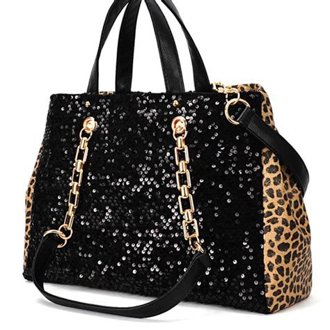 black sequins wild leopard print chain strap purse bag