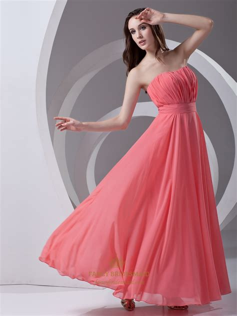 beach wedding dresses coral coral strapless chiffon floor length bridesmaid dresses