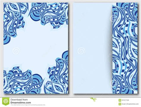 Set Of Template With Waves Element For Design Invitations And Greeting Cards Abstract Doodle In Card Template Blue