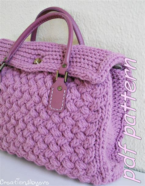 knit bag pattern stylish small textured knit bag pdf pattern