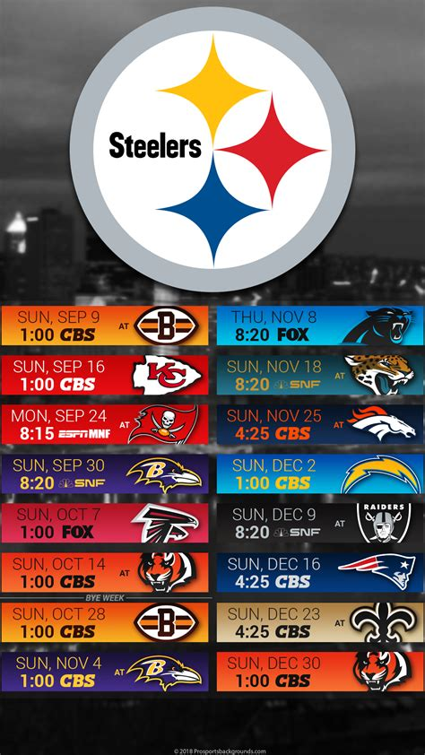 Pittsburgh Steelers Schedule 2018 Printable