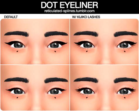 mod the sims acute eyeliner 10 styles reticulated splines dot eyeliner in two styles love