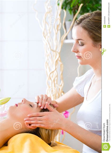 wellness woman  head massage  spa stock images