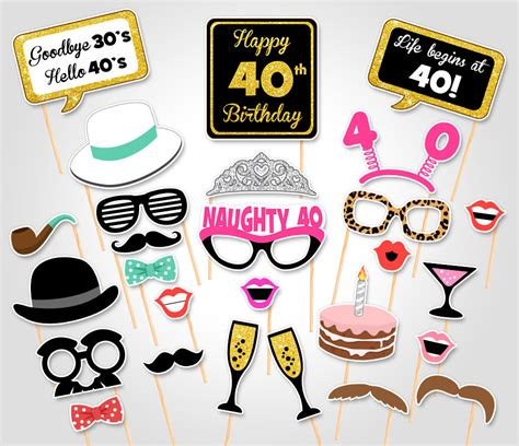 free printable photo booth props 40th birthday 40th birthday party printable photo booth props birthday
