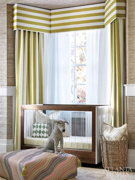 modern bay window curtains horizontal stripe valance with vertical stripe curtains in