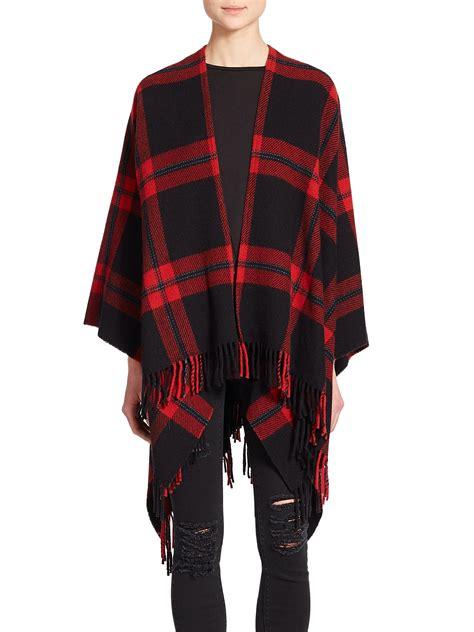 Plaid Woolen Cape Cardigan 15946 lyst the kooples plaid wool poncho in black