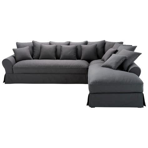 canape d angle 6 places canap 233 d angle droit 6 places en coton gris ardoise