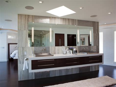 modern master bathrooms modern master bathroom with floating double vanity hgtv