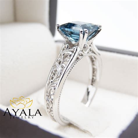 princess cut blue topaz ring in 14k white gold unique topaz