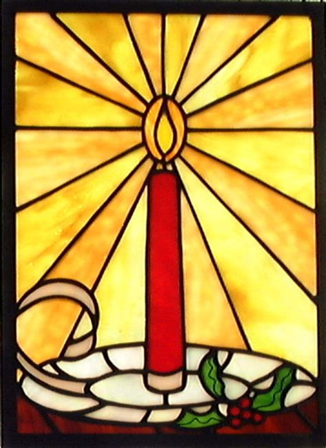 christmas candle stained glass window | small christmas