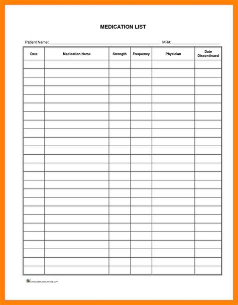 medication template medication list template resumes