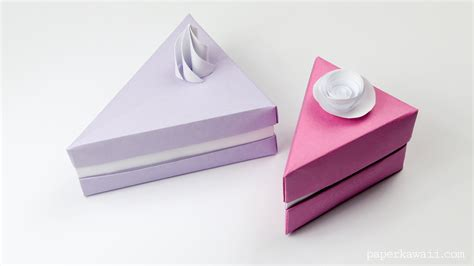 How To Make Paper Cake - origami cake slice box paper kawaii