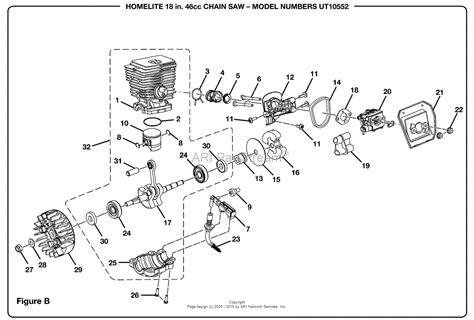 homelite chainsaw parts diagram homelite 2 chain saw ut 10552 parts diagram for figure b
