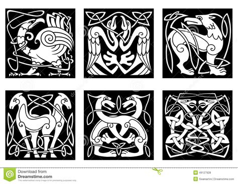 abstract animals and birds in celtic style stock vector