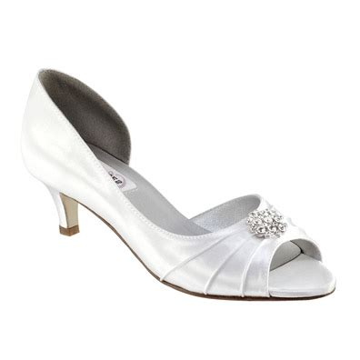 dyeable white satin low heel wedding shoes