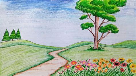 draw scenery  flower garden step  step