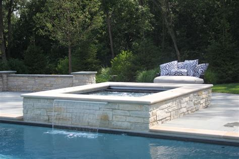 pools with spas rectangular pool with raised spa traditional pool