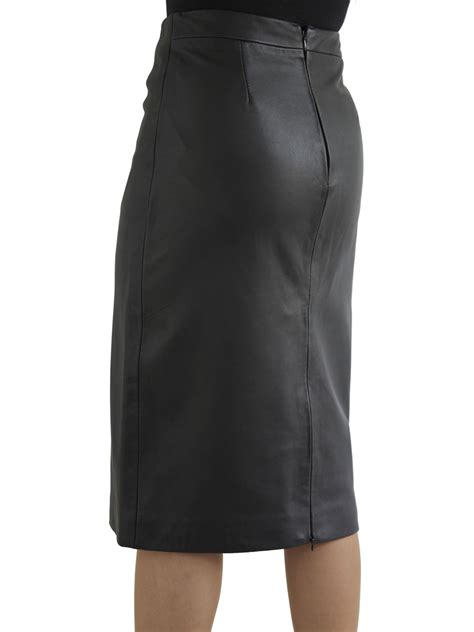 luxury leather midi pencil skirt rear zip vent tout