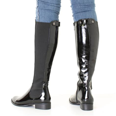 womens black patent knee high flat chelsea style slim fit