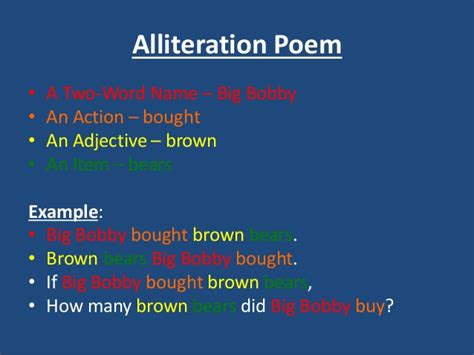 alliteration poem template poem exles