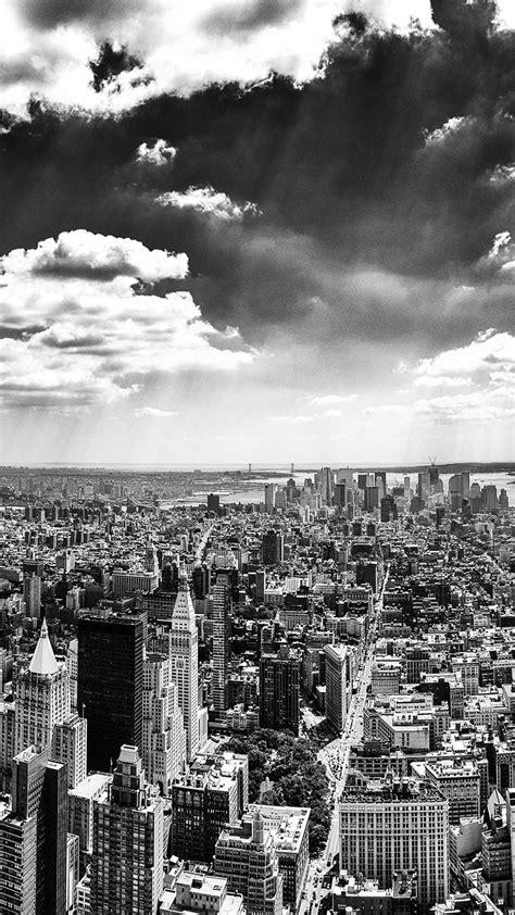 york city black  white android wallpaper